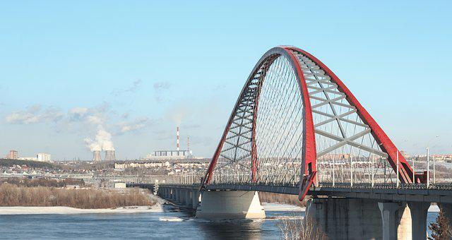 Bridge, Red Bridge, Arch, Rods, Winter, Snow
