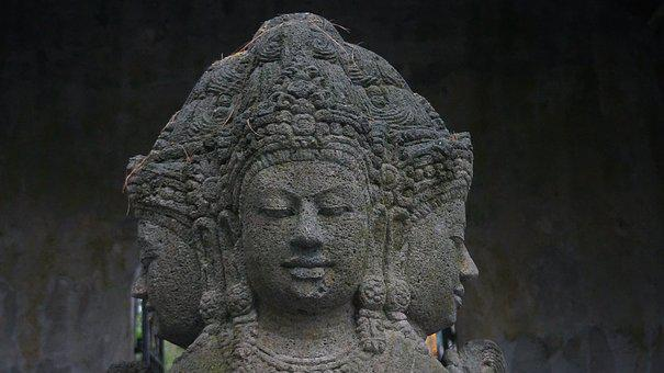 Carving, Stone, Hindu, Deity, Java, Antique, Old