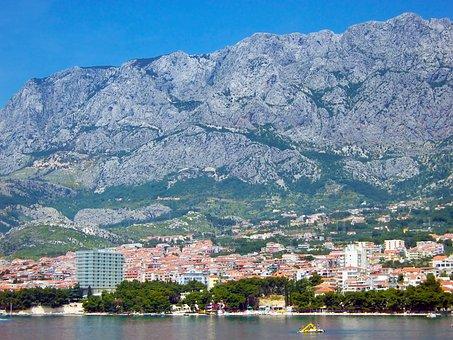 Mountain, City, Coast, High, Mountains, Sky, Landscape