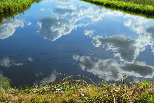 Reflection, Ditch, Clouds, Grass, Nature, Whey, Reflect