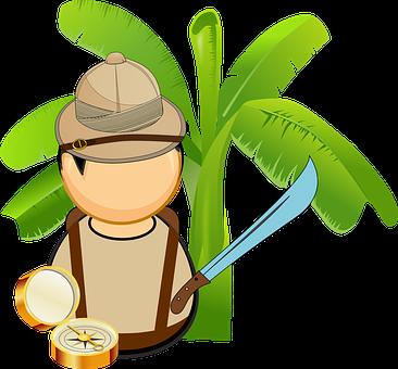 Adventurer, Banana, Compass, Explorer, Helmet, Jungle