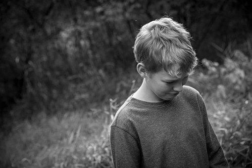 Boy, Sad, Black And White, Depression, Pain, Sorrow