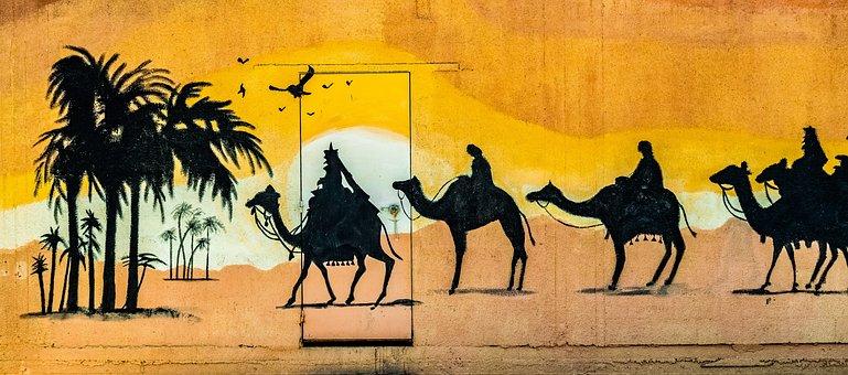 Camels, Desert, Caravan, Graffiti, Wall, Door