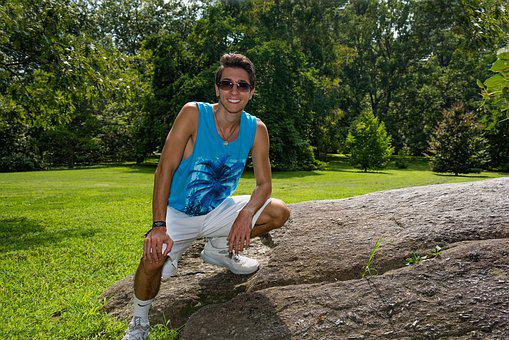 Young Man, Boulder, Smile, Fun Day, Sunglasses, Estate