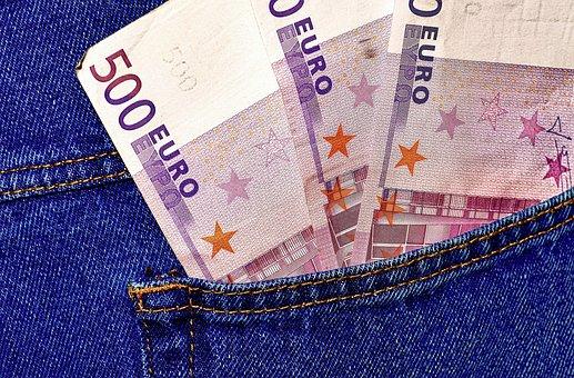 Money, Euro, Jeans, Pocket, Back Pocket, Currency