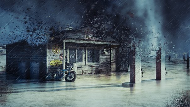 Gas Station, Tornado, Wreckage, Storm, Lightning