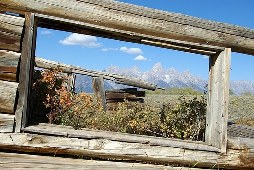 Window Frame, Log, Cabin, Ruin, Rustic, Grand, Teton