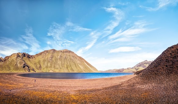 Lake, Iceland, Wide, Landscape, Sky, Nature, Clouds