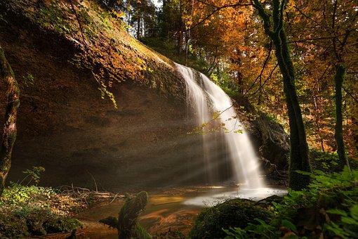 Nature, Autumn, Waterfall, Sunbeam, Forest, Landscape