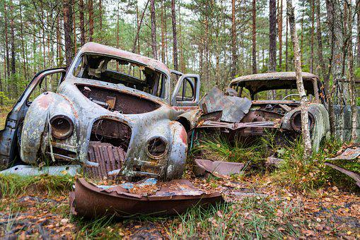 Cars, Left, Car, Old, Automobile, Vehicle, Abandoned