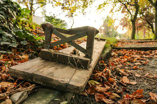 Park Bench, Autumn, Melancholic, Leaves, Fall Foliage