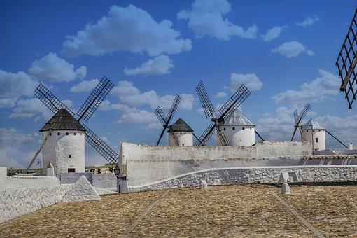 Mills, Wind, Clouds, Rural