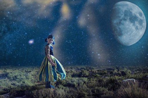 Sky, Star, Moon, Night, Girl