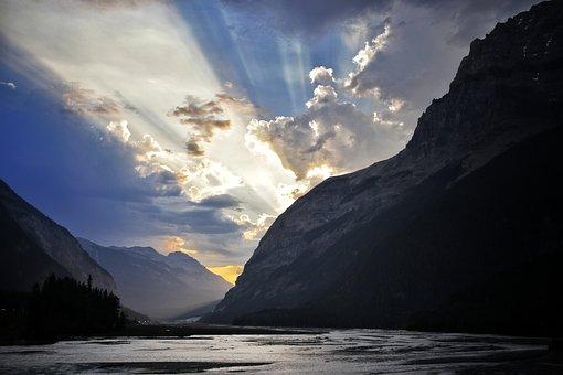 Sunbeam, Lake, Mountains, Water, Nature, Landscape, Sky