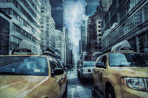 New York, Storm, Lightning, Taxi Cab, Yellow Cab