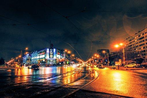 Night, Rain, City, Asphalt, Dark, Weather, Headlights