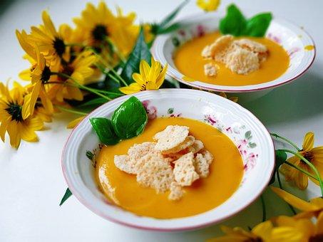 Pumpkin, Pumpkin Soup, Autumn, Flowers