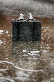 Miniature, Figurine, Small, Rain, Puddle