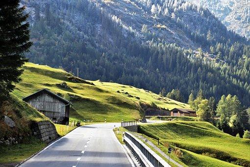 Autumn, Mountains, Snow, Highway, Transport, Alpine