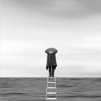 Boy, Ocean, Step, Ladder, Scy, Lonely, Minimalism, Line