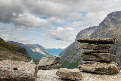 Stone, Norway, Mountains, Natural, Landscape, Clouds