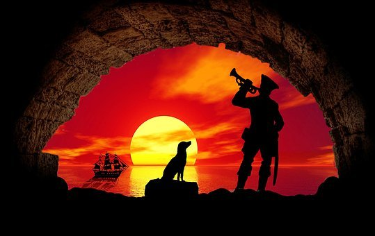 Pirate, Cave, Dog, Sea, Sand, Ship, Pirate Ship, Sun