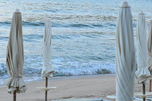 Beach, Sea, Parasols, Surf, Sunrise, Summer, Water