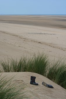 Talacre Beach, Wales, Uk, Wellies