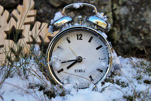Winter, Time Pointing, Clock, Alarm Clock, Hours