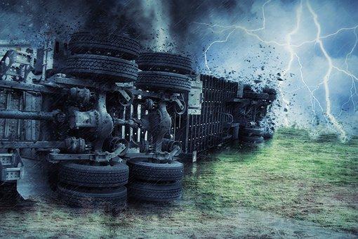 Truck, Semi, Crash, Storm, Tornado, Lightening