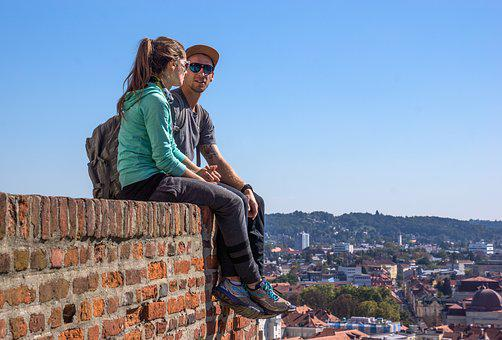 Couple, Boys, Tourists, Sitting, Wall, City, Love