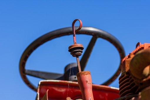 Steering Wheel, Tractor, Lawn Mower, Vehicle, Old