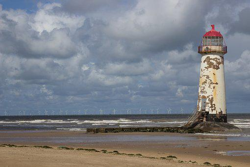 Point Of Ayr Lighthouse, Talacre Beach, Wales, Uk
