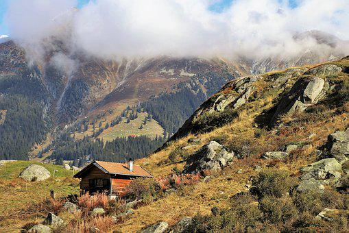 The Alps, Mountains, Wooden House, Rocks