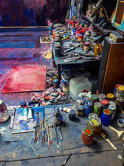 Colors, Paints, Art, Workshop, Atelier