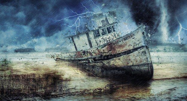 Boat, Wreckage, Storm, Tornado, Lightening, Bad Weather