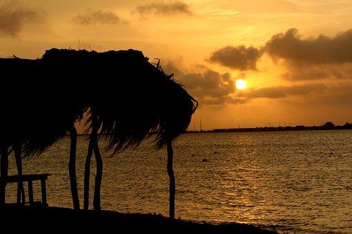 Sunset, Sun, Yellow, Sunrise, Waves, Sea, Cloud, Ocean