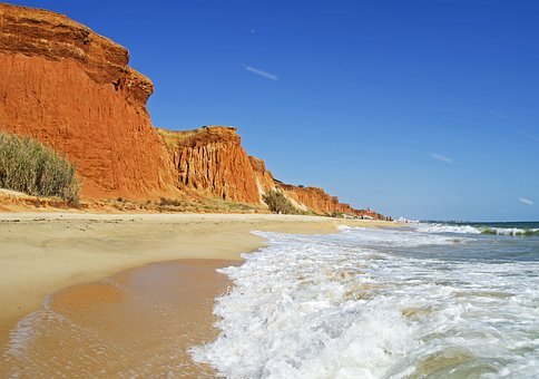 Red Sandstone, Cliffs, Ocean, Waves, Blue Sky, Algarve