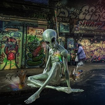 Alien, Aliens, Street Art, Street, Colorful, Mystic