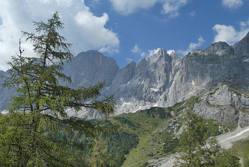 Mountains, Dachstein, Austria, Alpine, Panorama, Clouds