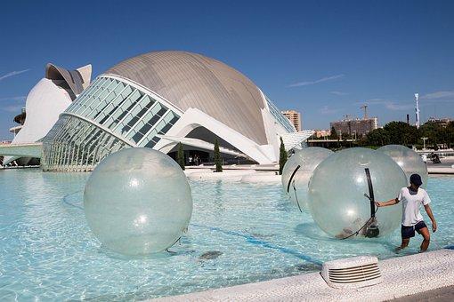 Valencia, Architecture, Float, Bubbles, Pool, Blue