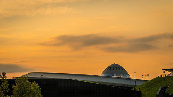 Katowice, Saucer, Architecture, City, Poland, Sunset