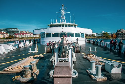 Ferry, Coho, Victoria, Deck, Bell, Front, Ropes