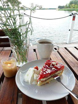 Birthday, Birthday Cake, Strawberry Pie, Coffee