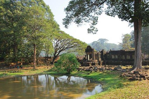 Pond, Ruin, Angkor Wat, Cambodia, Siam Rep