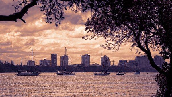 Cityscape, Lake, Highrise, Boat, Marina, Yacht, Water