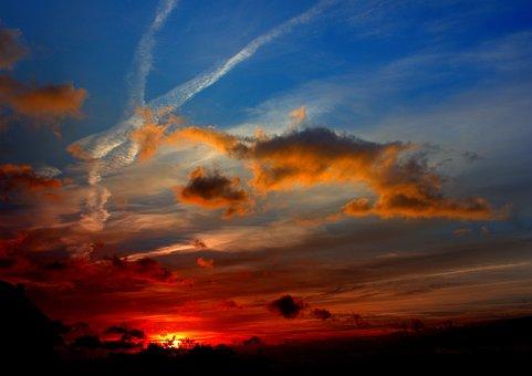 Sunset, Lift, Sun, Nature, Morning, Sky, Clouds, Color