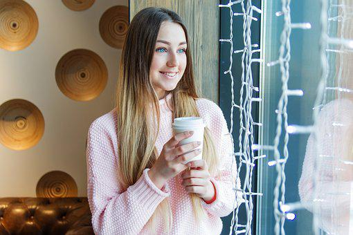 Girl, Young, Board, Window, Café, Smile, Coffee