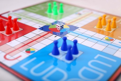 Game, Board, Ludo, Child, Dice, Blue, Green, Yellow