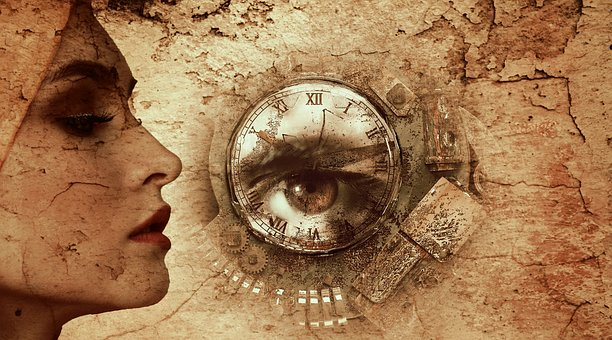 Fantasy, Woman, Clock, Mysterious, Face, Dream, Eye